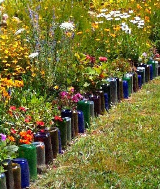 Идея для сада ограда из пластиковых