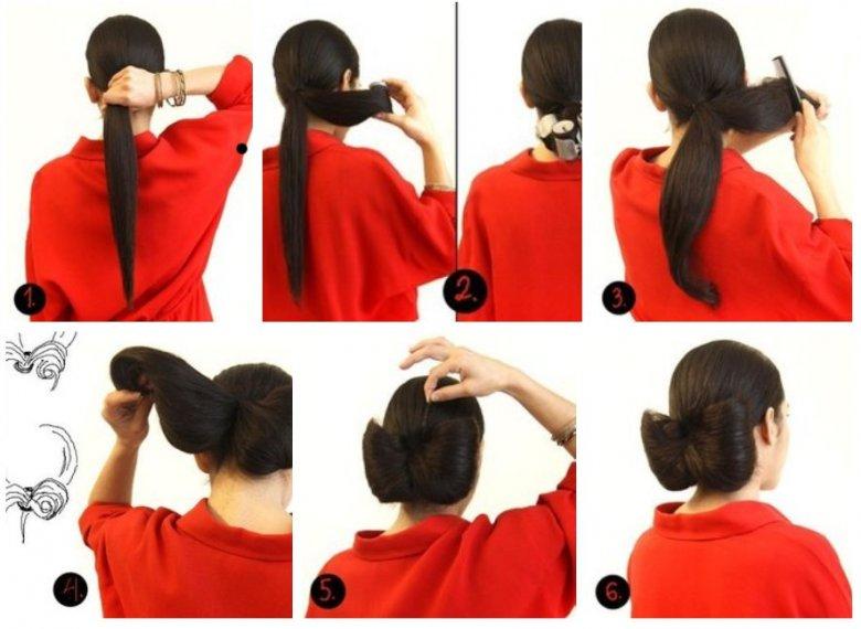 Сделать из волос прическу бантик