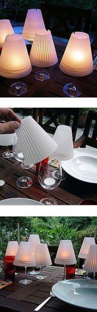 Лампы из стаканов для вина