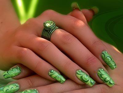 Красивые ногти фото салатовым цветом