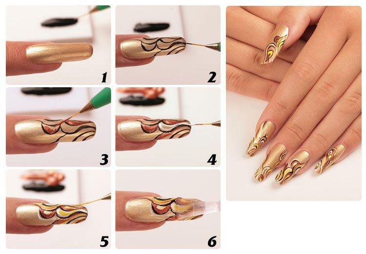Рисунки на ногтя в домашних условиях