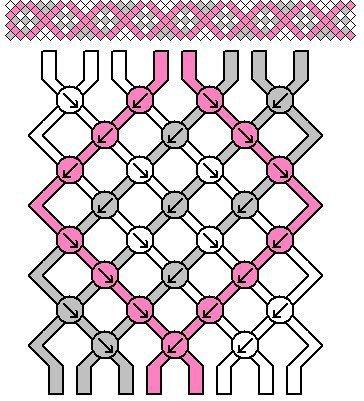 Простая схема плетения фенечки