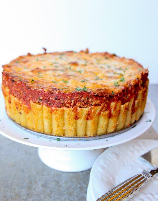 Итальянский пирог из макарон (ригатони)