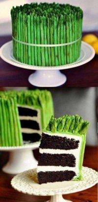 Как красиво украсить торт: торт с аспарагусом