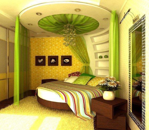 дизайн спальни зеленого цвета фото: