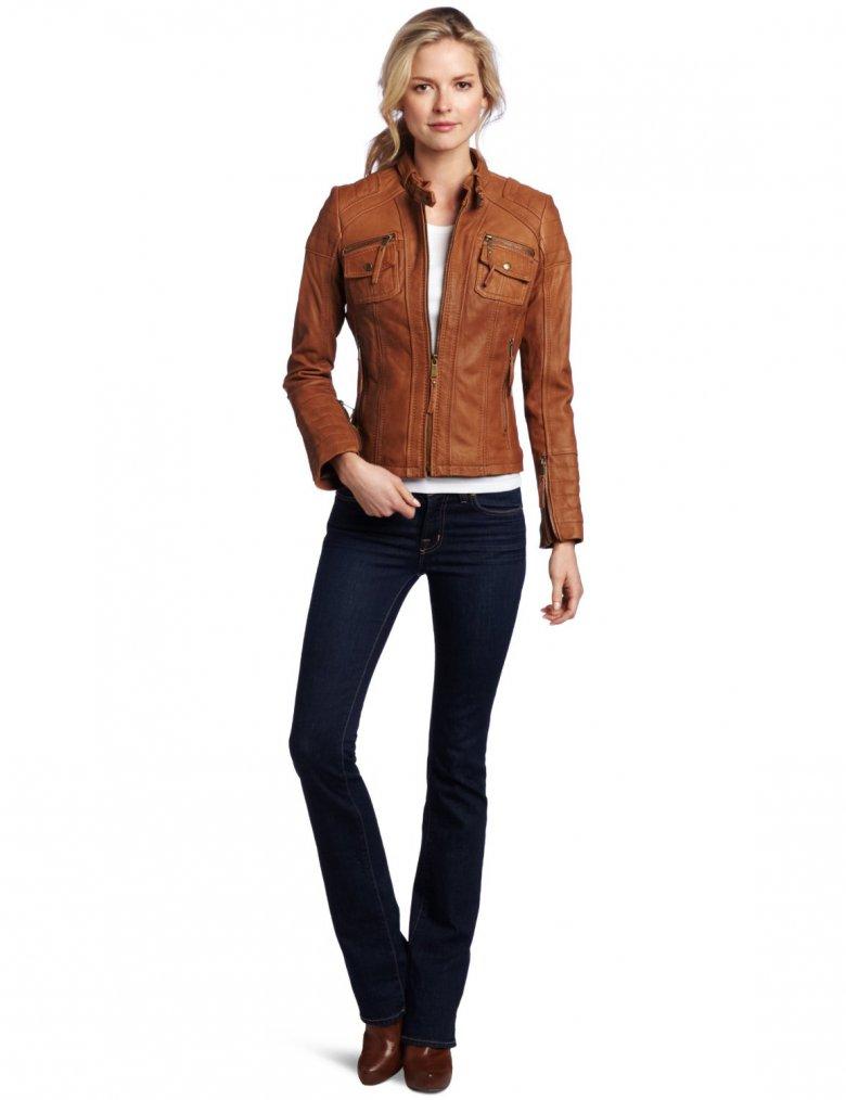 куртки кожаные женские коричневые фото