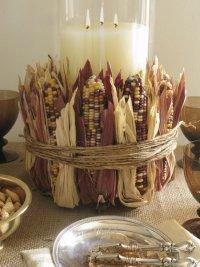Оформление стола для осенней свадьбы: сухие початки кукурузы