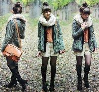 Стильный осенний образ 2012: светлые шорты и черные полусапожки
