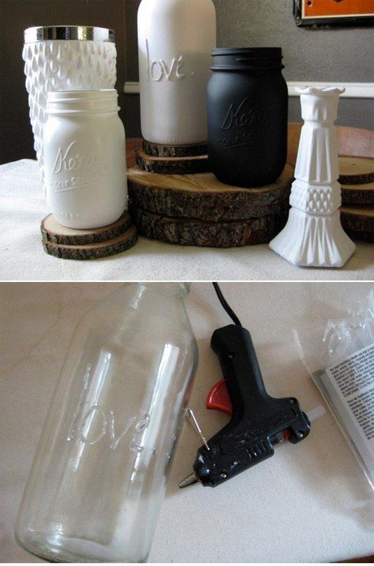 Простая идея для декора бутылок: выпуклая надпись