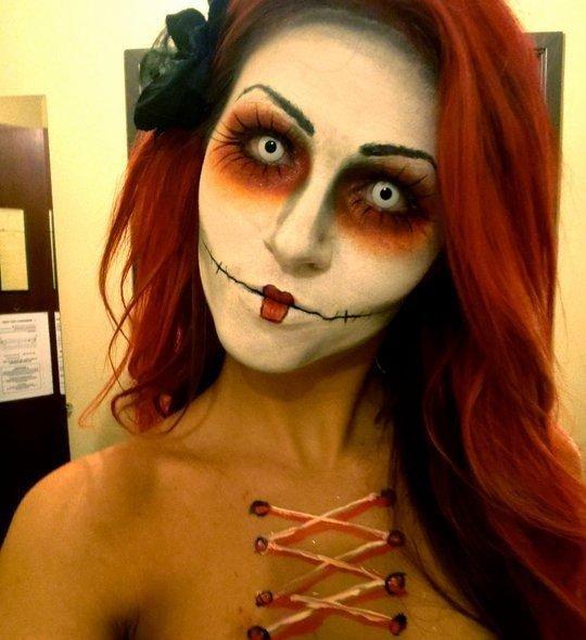 Идеи для макияжа на Хэллоуин: кукла-зомби