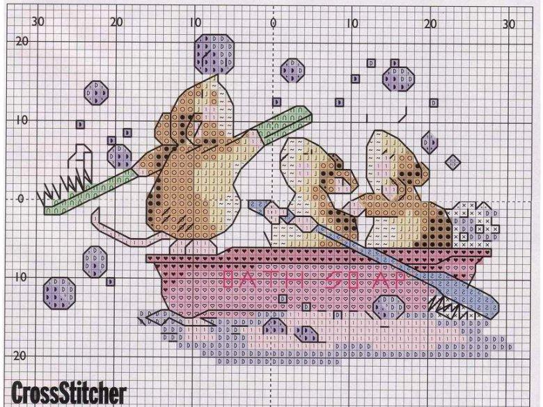 Схема вышивки «Мышки в ванной»