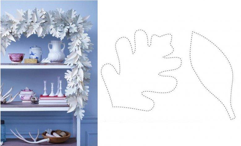 Новогодние гирлянды из белой бумаги своими руками