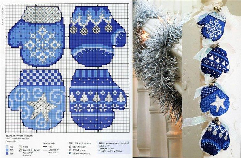 Схема вышивки «Рукавички» и идея ее использования