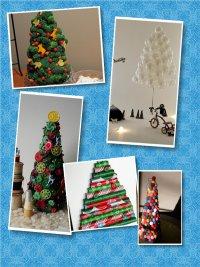 Оригинальные новогодние елки своими руками из подручных материалов