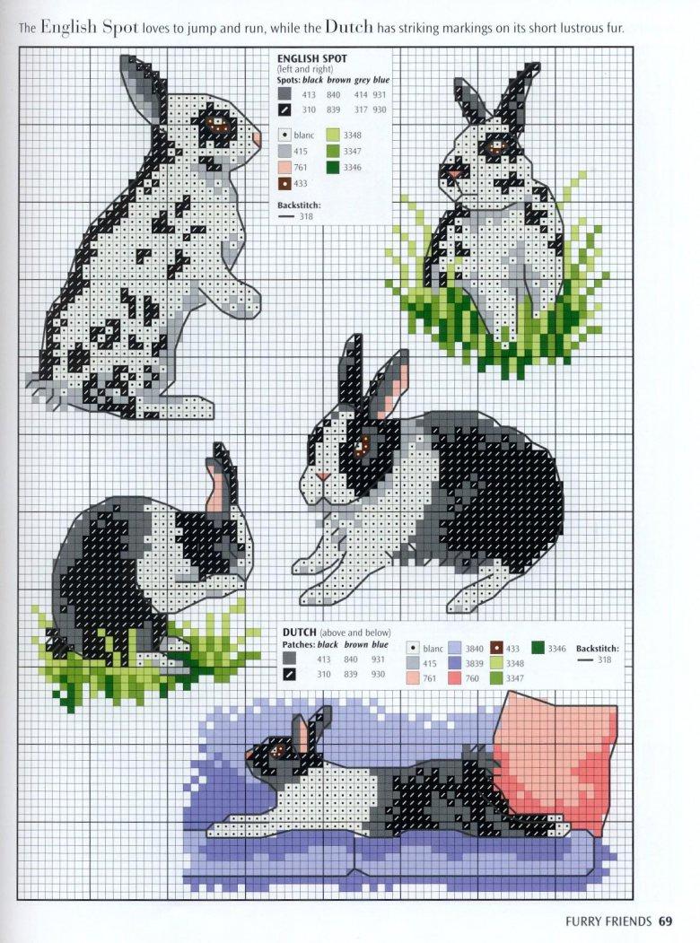 Вышивание животных схема