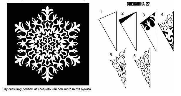Вырезание снежинок из бумаги: