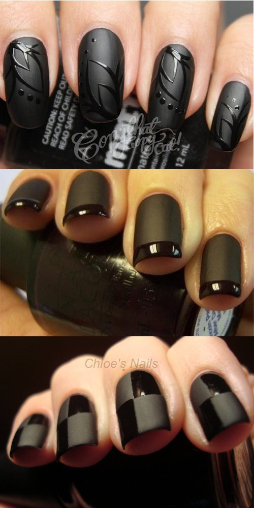 Черный матово-глянцевый маникюр