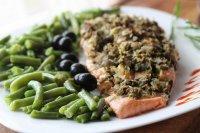 Филе лосося с оливками (на пару)