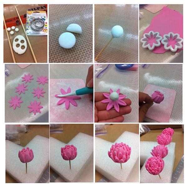 Как сделать цветы из полимерной глины своими руками видео