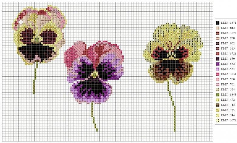 Схема вышивки цветов: анютины