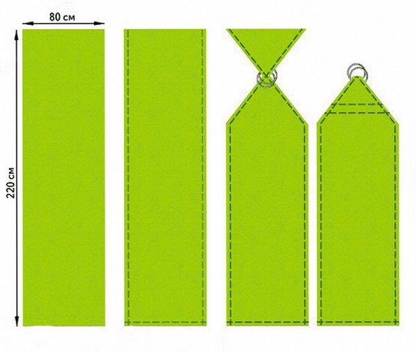 Обрабатываем края с трех сторон.  Продеваем один конец ткани в два кольца (диаметром 60-70 мм) и закрепляем...
