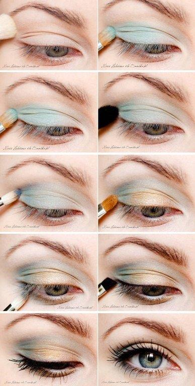 Макияж повседневный для серо-зеленых глаз и