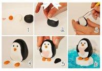 как сделать пингвина из мастики.