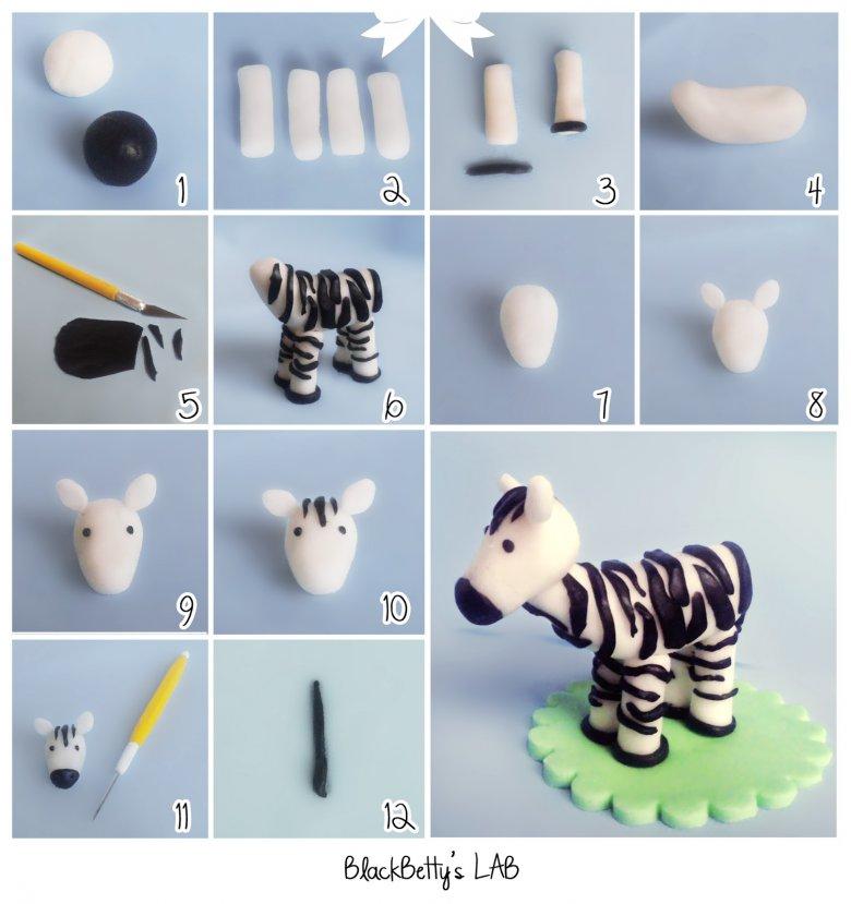 Как сделать зебру из мастики