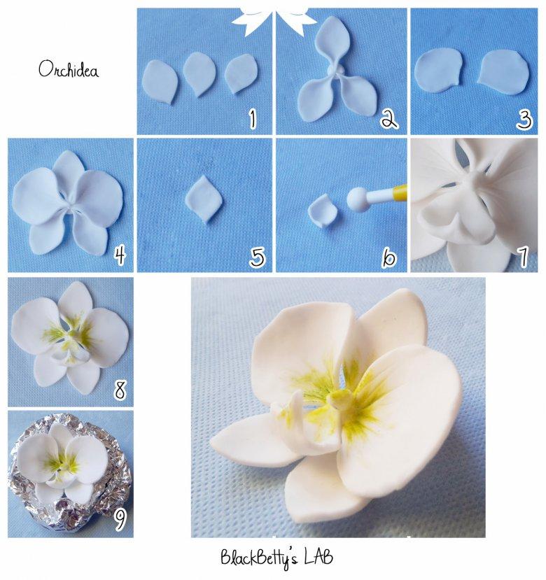Как сделать орхидеи из мастики пошагово