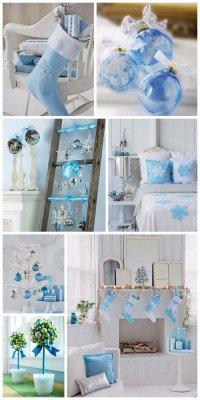 Идея украшения дома к Новому году в голубых и синих тонах