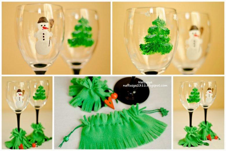 Новогодние стаканы своими руками