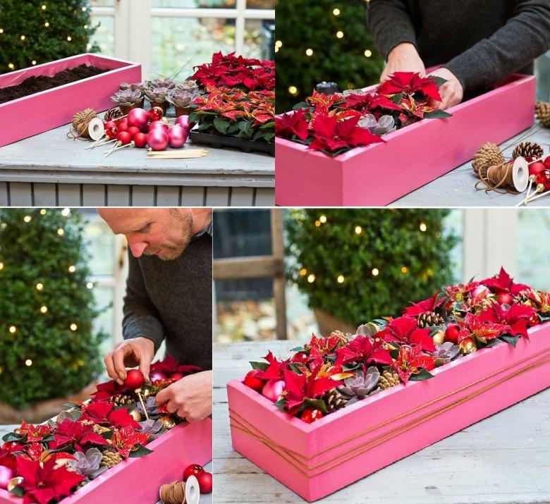 Новогоднее украшение дома с пуансеттией