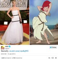 Платье Дженнифер Лоуренс с церемонии «Золотой глобус» стало интернет-мемом