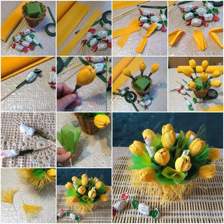 Цветы с конфетами своими руками из гофрированной бумаги розы