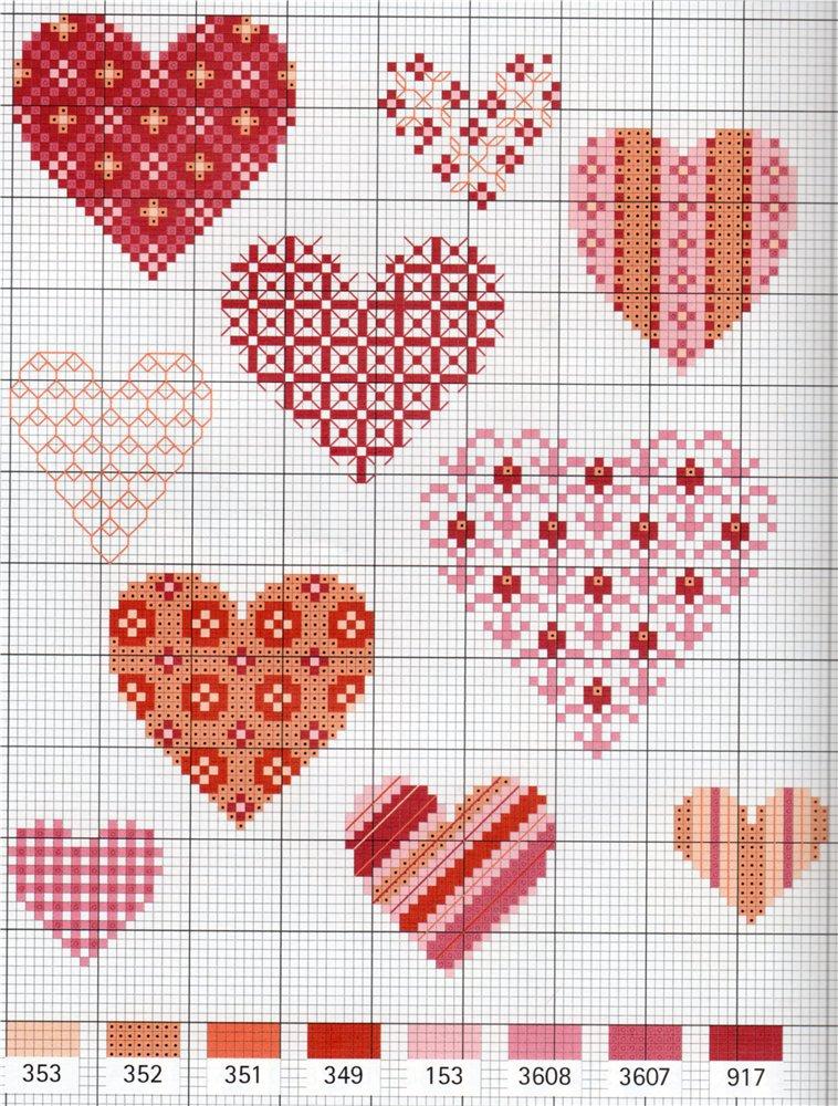 Схемы вышивок сердец для