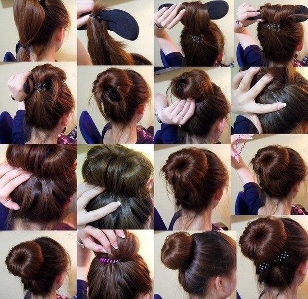 Прически на длинные волосы с бубликом пошагово