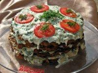 Закусочный торт из баклажанов