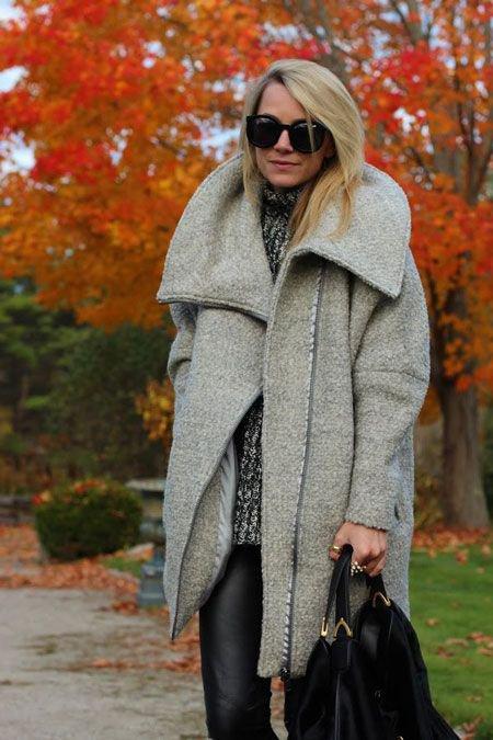 С чем носить пальто-кокон