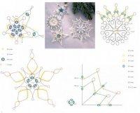 4 очаровательные снежинки из бисера и стекляруса
