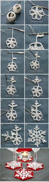 Вязание новогодних снежинок крючком