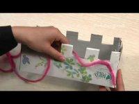 Как вязать шарф на коробке без спиц