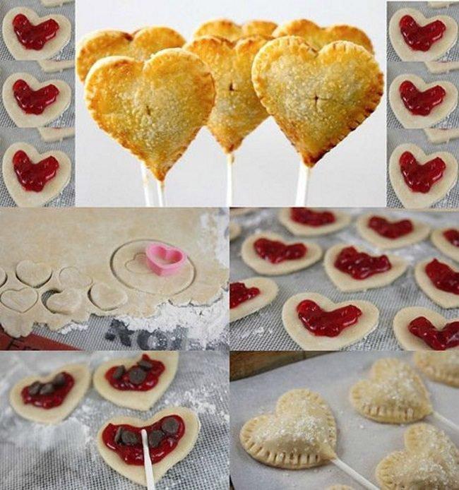 Пирожки-сердечки на палочек ко Дню святого Валентина
