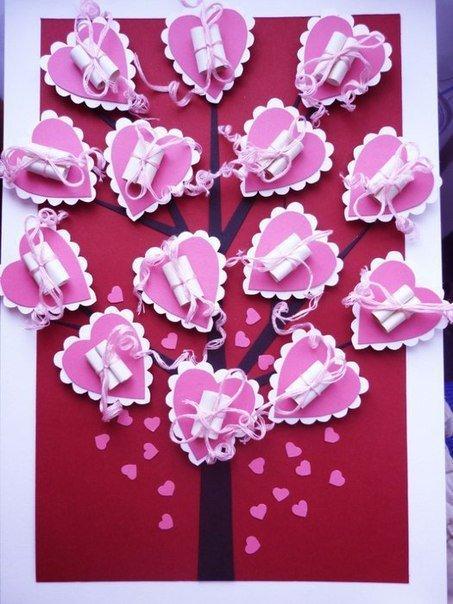 Идея на День святого Валентина: дерево с признаниями в любви