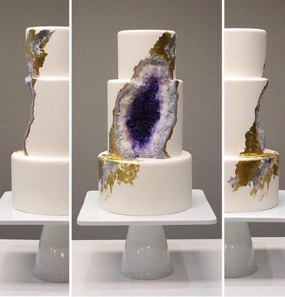 Новый тренд в украшении свадебных тортов: минеральные торты