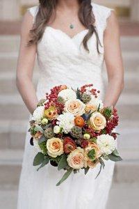 Букет невесты с калиной