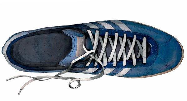 История синих спортивных туфель Adidas