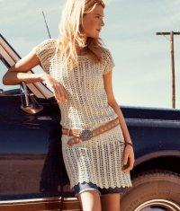 Короткое платье, вязаное крючком