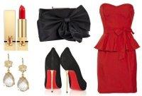 Стильный вечерний наряд в красной цветовой гамме