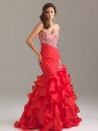 Красное выпускное платье силуэта «Русалочка»