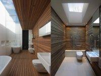Деревянный интерьер ванной комнаты